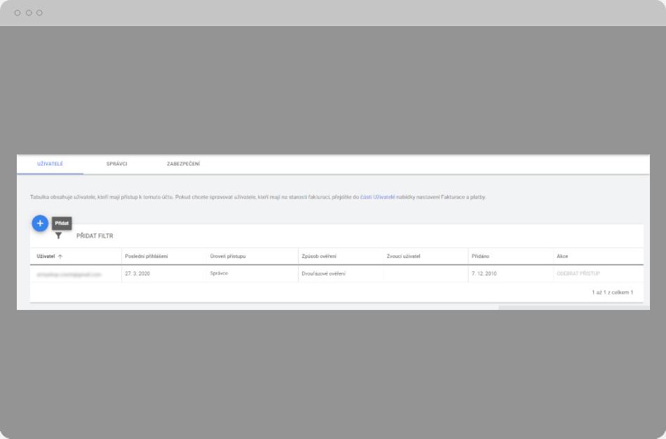 Google Ads - Přidat uživatele
