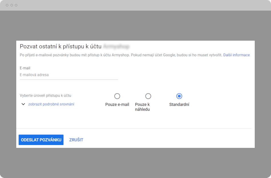 Google Ads - Přístup k účtu