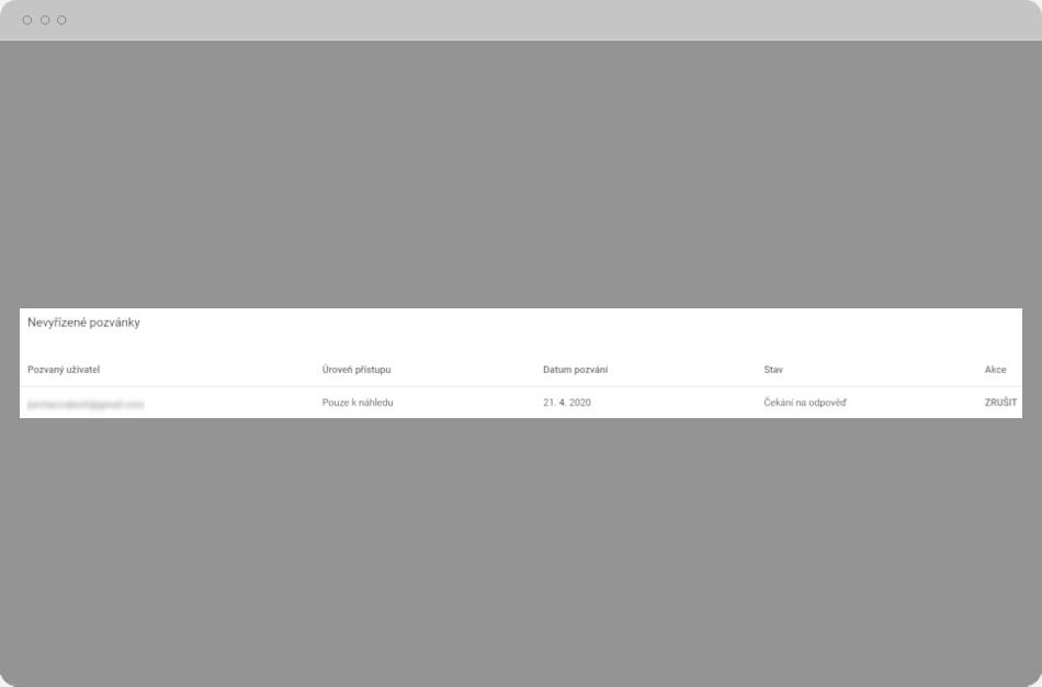 Google Ads - Nevyřízené pozvánky
