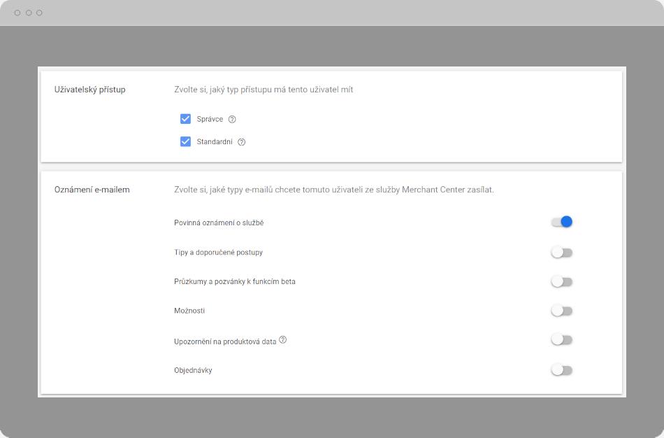 Google Merchant Center - Uživatelský přístup