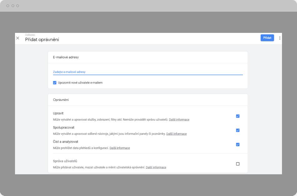 Google Analytics - Přidat oprávnění