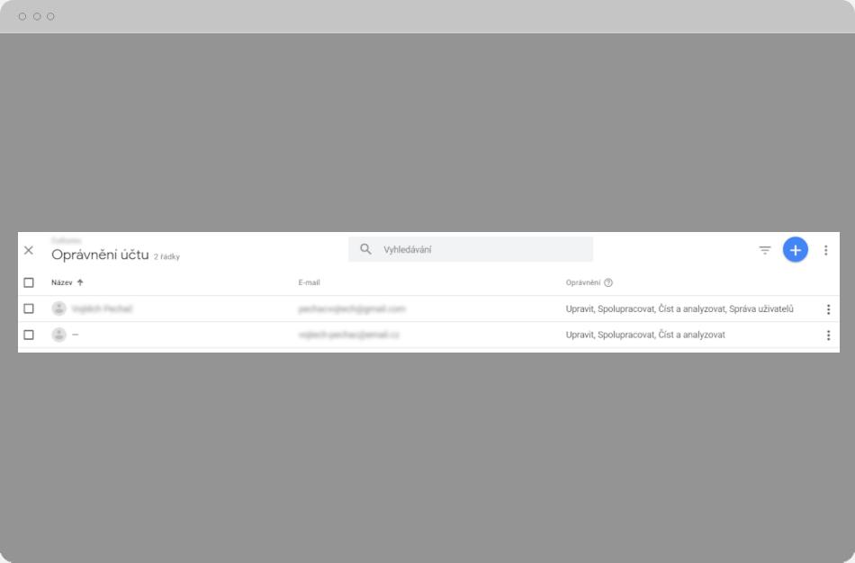 Google Analytics - Oprávnění účtu