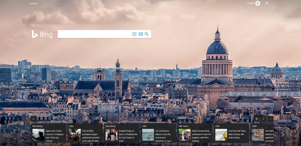 Bing - uvodni foto
