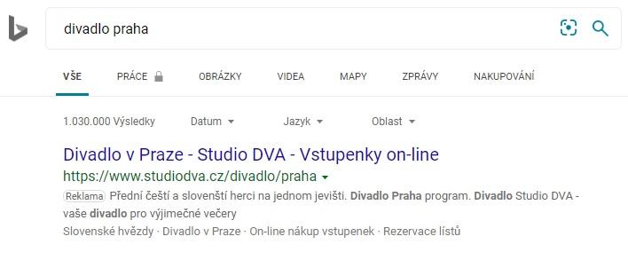 Studio DVA Bing reklama