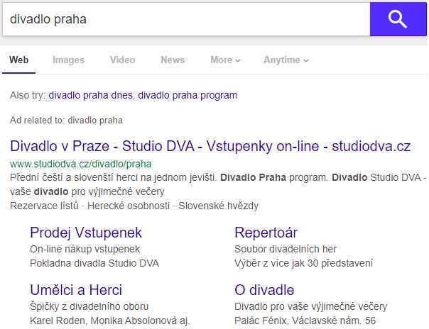 Studio DVA Yahoo reklama