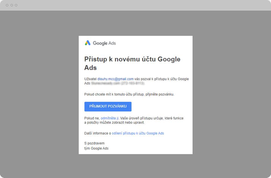 Přístup k novému účtu Google Ads